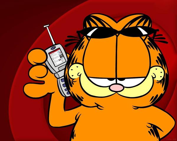 Garfield z komórką